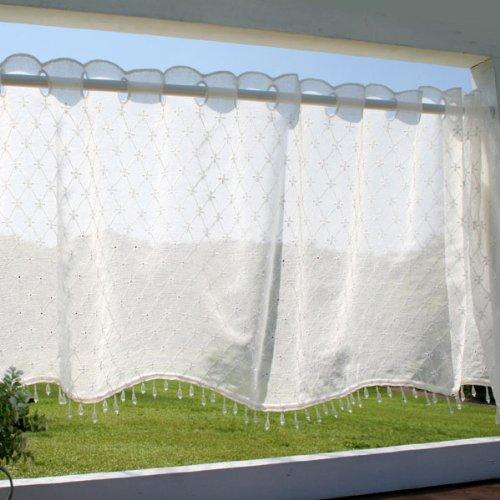SunnyDayFabricカフェカーテンフェアリーホワイトビーズ付き約幅125cm×丈45cm(ビーズ含)