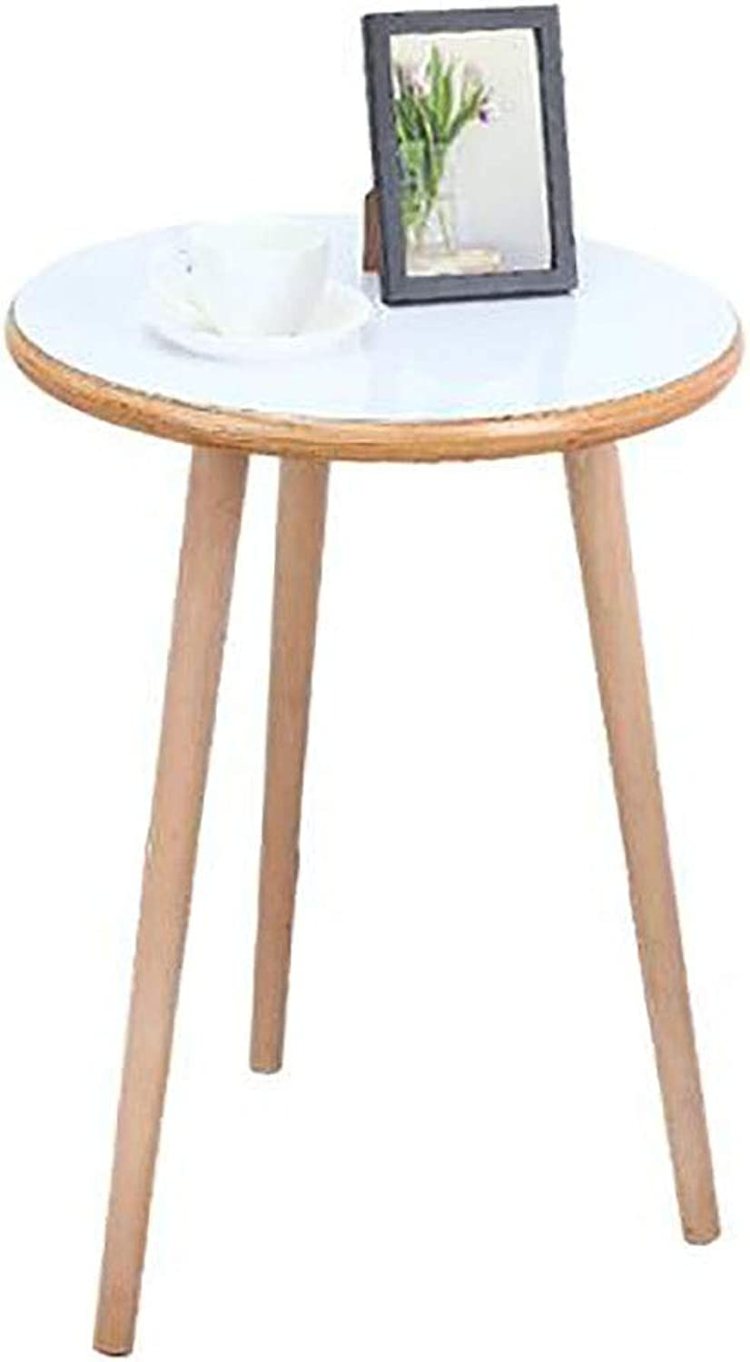 Solid Wood Foot Tea Table Sofa Side Small Round Table Nordic Mini Round Table Corner Coffee Table (Size   40cm)