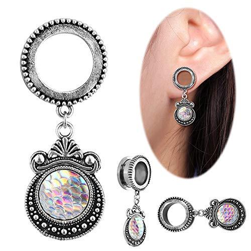 Feixunfan piercing oorbellen 1 paar leuke opaal hanger vorm oorsteker tunnel meetinstrument Stretcher Perforation multi-size optioneel roestvrij staal helix parel oorbellen zilver