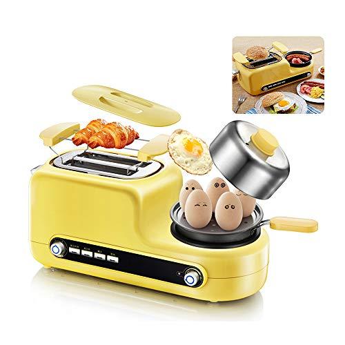 OTENGD Tostadoras de 2 rebanadas de Ranura Larga con vaporera de Huevos, tostadora de Pan de Ranura Ancha de Acero Inoxidable, Huevos revueltos con Tortilla, Velocidad Ajustable múltiple