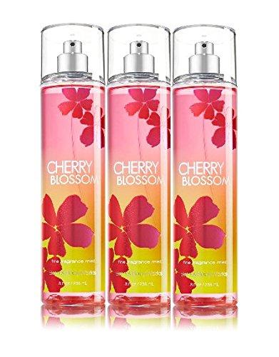 Lot of 3 Bath & Body Works Cherry Blossom Fine Fragrance Mist 8 Fl Oz Each (Cherry Blossom)