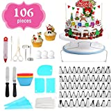 Cake Decorating Equipment, 106pcs Cake Decorating Set Cupcake Decorating Kit Baking Supplies with Nonslip Turntable Stand, 54 Numbered Icing Tips and Frosting Tools for Cake DIY