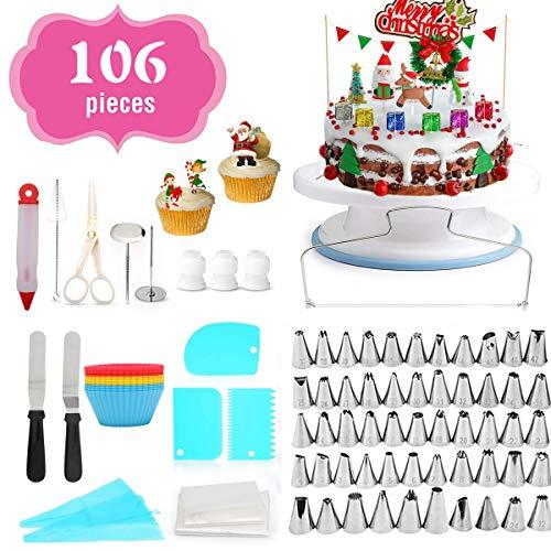 Attrezzatura per decorazione torte, 106 pezzi, kit di decorazioni per cupcake, con supporto antiscivolo girevole, 54 beccucci numerati e strumenti per glassare torte fai da te