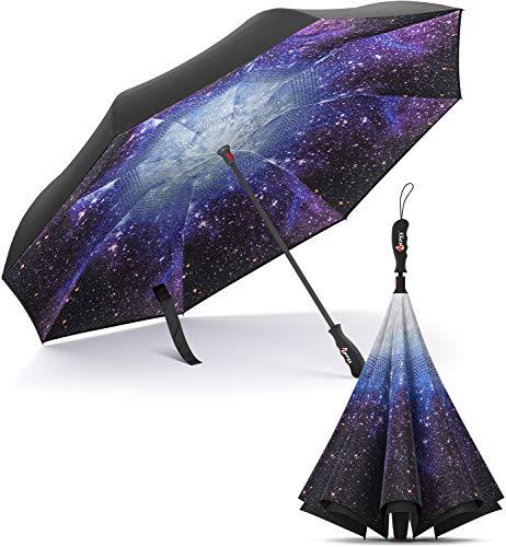 Repel Umbrella Reverse Umbrella - Upside Down Inverted Reversible Wind Resistant Design - Teflon Canopy - Windproof Umbrella with Fiberglass Ribs