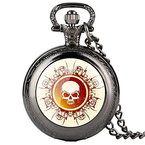 Reloj de Bolsillo para Hombre, diseño de Calavera, Color Negro, para Adolescentes, Decoraciones, Collares, Relojes de Bolsillo para niños