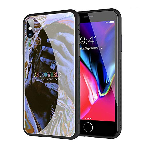 GUOZHAO Phone Case iPhone XR,GZA-69 Travis Scott Astroworld Tempered Glass Back Black Cover and Soft Silicone Rubber Bumper Frame for Scratch-Resistant and Anti-Scratch Absorption