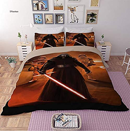 IITaozi Sunday Star Wars Juego de ropa de cama con impresión 3D, 1 funda de edredón y 2 fundas de almohada, universidades, cama King (tamaño: King, color: Star Wars 3)