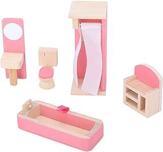 1:12 Mini juegos de muebles de casas de muñecas, muebles de madera en miniatura Juegos de imaginación Simulación Juguete Escena de la vida Cocina Dormitorio Baño Juguete para Niños (Restroom)