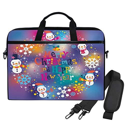 Emoya Laptoptasche 14 Zoll Merry Christmas Happy New Year Schneemann Schneeflocke Aktentasche 13,3 Zoll Computer Schultertasche