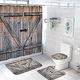 Coxila Rustic Shower Curtain Wooden Wood Board Gate Rural Farm House Door Painted Contour Mat Toilet Lid Cover U Shaped Sets Bath Mat 4 Pcs Decor Bathroom Barn Non-Slip Rug Fabric Polyester 60x72 Inch