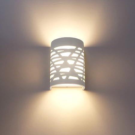 Applique Murale Interieur LED 7W Lampe Murale Blanc Appliques Murales en Plâtre pour Chambre Couloir Salon Cuisine - Blanc Chaud