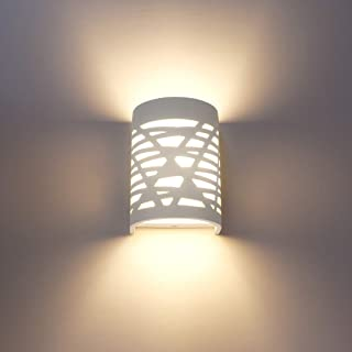 Aplique Pared Interior LED 7W Blanco Yeso Lámpara de Pared Blanco Cálido Luz Aplique Pared para Dormitorio Salon Sala Pasillo Escalera (Incluye bombilla LED G9)
