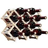 W22 選べるサイズ 折りたたみ式 ワインラック 木製 ホルダー ワイン シャンパン ボトル 収納 ケース スタンド インテリア (10本収納)