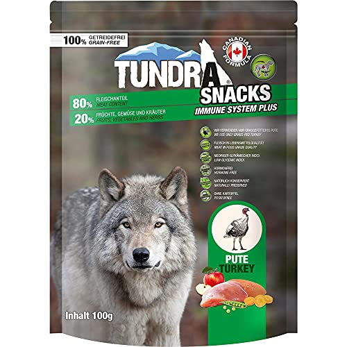 Tundra Snack 80% Fleischanteil - Immune System - Pute 100 g | Hundesnack | Softsnack