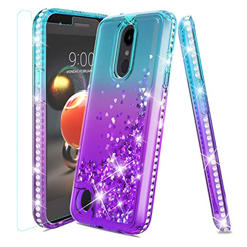 LG Aristo 2 Case,LG Tribute Dynasty Case,LG Aristo 3 Case,LG Rebel 4/LG Phoenix 4/LG Aristo 2 Plus/Rebel 3 Case w/Tempered Glass Screen Protector,Glitter Quicksand Diamond Shockproof Case,Teal/Purple