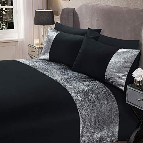Sienna Crushed Velvet Panel Band Duvet Cover with Pillow Case Bedding Set, 100% Polyester, Black Silver Grey, Single