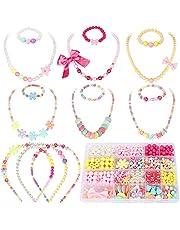 Toyssa 800+ Pièces Perles pour Enfants Bricolage Perles Set Kit de Fabrication de Bijoux Collier Bracelets Bandeau DIY Kit Art Craft Cadeau pour Enfants Filles 4 5 6 7 8 9 10 Ans