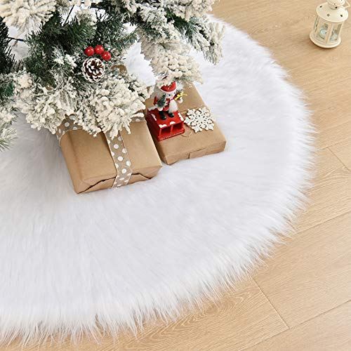 CELIVESGG 48' Christmas Tree Skirt Tree Skirt Double Layers a Fine Decorative Handicraft for Holiday Party … (All White)
