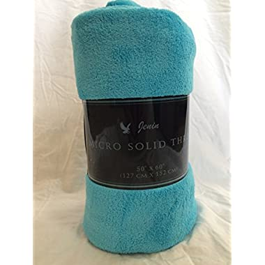 Ultra Soft Cozy Plush Fleece Warm Solid Colors Traveling Throw Blanket 50  X 60  (127 Cm X 152 Cm) (Turquoise)