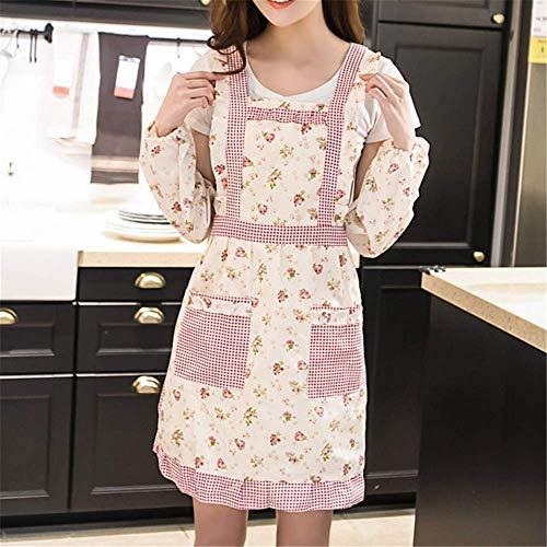 YXDZ Doble Delantal Grueso Cocina Delantal Impermeable Coreano Moda Vestidos Cintura Cocina Delantal Más Manga Traje C