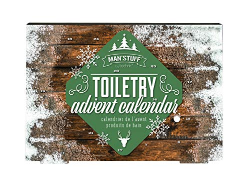 Man'Stuff Festive Countdown 24 Day Bath & Body Beauty Advent Calendar for Men Containing Cleansing and Grooming Essentials for Men