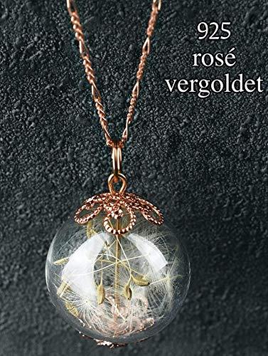 Anhänger Kette mit Echten Pusteblumen - 925 Sterling Vergoldet - Rosegold - Handgefertigt - 70cm