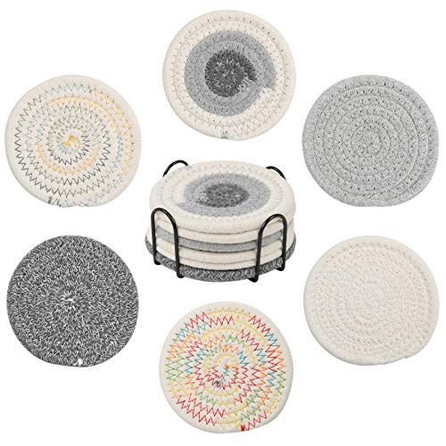 Sayopin 6PCS Premium Coaster for Drinks Absorbent, Handmade Braided Heat-Resistant Coasters with Metal Holder Storage, 4.4In Coaster for Tabletop Protection, Gifts for Birthday Housewarming