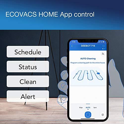 ECOVACS DEEBOT 715 – Robot intelligent aspirateur de sols, mode d'aspiration maximale, Module interchangeable 2en1 : aspiration ou lavage, contrôle via l'application ou Alexa, mise à jour OTA, noir