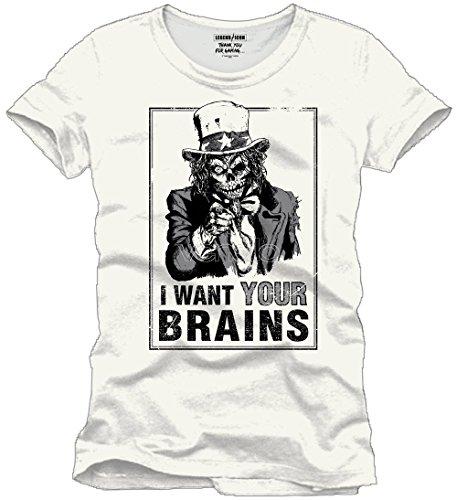 Tshirt homme Legend Icon - I want your brain - Legend Icon - XL, Ecru