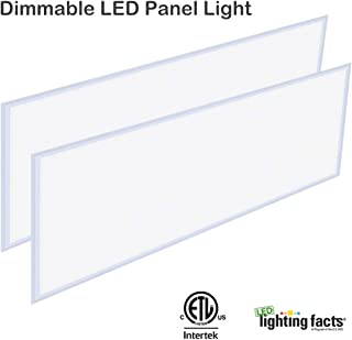 LED 2x4 FT Panel Light, Allsmartlife Flat LED Troffer Panel Light Dimmable 0-10V, 60W, 6215Lumens, 100-277V DLC Qualified and Lighting Facts Fixture 4000K(Bright White), 2 Pack