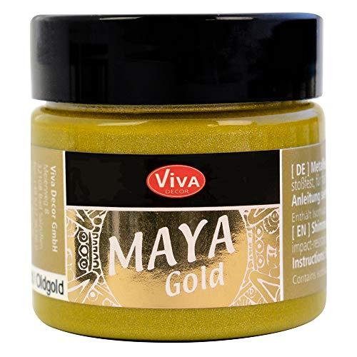 Viva Decor®️ Maya Gold (Alt Gold, 45 ml) Acrylfarbe mit Metallic Effekt - Malfarbe - Acryl Farben für Holz, Pappe, Beton, Papier, Leinwand UVM.