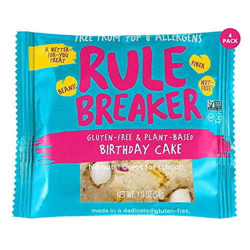 Rule Breaker Snacks Vegan Cookies | Gluten Free, Nut Free and Great for School, Allergen Free, Kosher, Plant Based, Chickpea Based Blondie Brownies | Individually Wrapped 1.9oz Cookies, Birthday Cake (4 Pack)