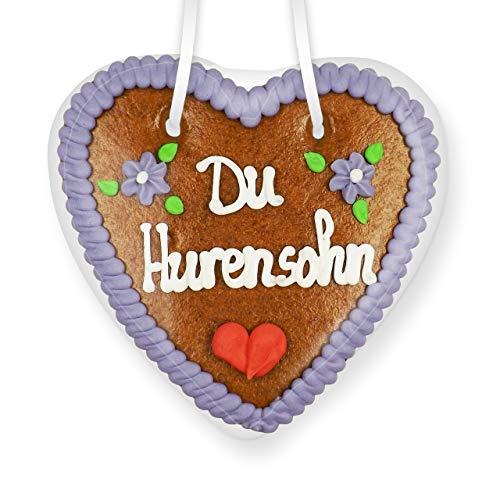 Lebkuchenherz 14cm - Du Hurensohn   Lustige Scherz Ideen   Witzige Geschenke für Party   Scherzartikel für Party   Essbare Scherzartikel   Scherzartikel für Erwachsene   Lustige Geschenke
