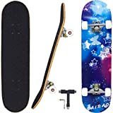 Geelife Skateboard 7 Layers Decks 31'x8' Pro Complete Skate Board Maple Wood Longboards for Teens Adults Beginners Girls Boys Kids (Nebulae)