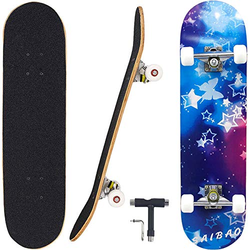 "Geelife Skateboard 7 Layers Decks 31""x8"" Pro Complete Skate Board Maple Wood Longboards for Teens Adults Beginners Girls Boys Kids (Nebulae)"