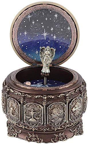 Jeffergarden Caja de música Vintage con 12 Constelaciones, Diosa giratoria, luz LED Parpadeante (Pisces)