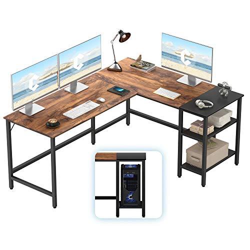 CubiCubi L-Shaped Computer Desk, Industrial Office Corner Desk Writing Study Table with Storage Shelves, Space-Saving, Dark Rustic/Black