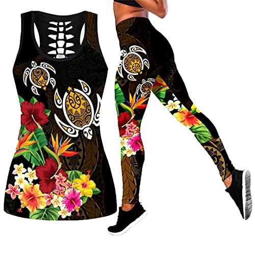 Hermoso Tatuaje de Tortuga 3D en Leggings Estampados y Camisetas sin Mangas Leggings Ajustados elásticos sexys para Mujer Legging Tank Top M