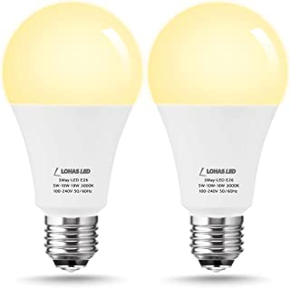 50W/100W/150W Equivalent 3-Way LED Light Bulbs, LOHAS A21 LED Bulb Soft White 3000K 600LM-1250LM-1850LM, E26 Edison Lamps Base for Incandescent Bulbs, Home Lighting, Chandelier Lights, 2Pack