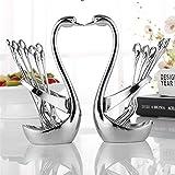 Soporte de aleación de zinc para cuchara y tenedor de frutas, con forma de cisne, para guardar cuchillos, cucharas, utensilios de cocina