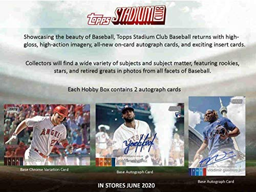 2020 Topps Stadium Club Baseball Hobby Box (16 Packs/8 Cards: 2 Autos, 1 Over-Sized Boxtopper)