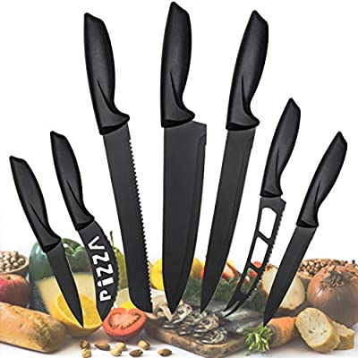 Kitchen Knife Set, Cooking knives - 7 Pieces Stainless Steel Kitchen Knives for Chefs and Professionals Cooking Cutting - Scratch Resistant And Rust Proof