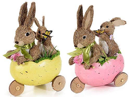 Ideapiu 2 Coniglio c/Cucciolo in Fibra Naturale nel Triciclo a Uovo