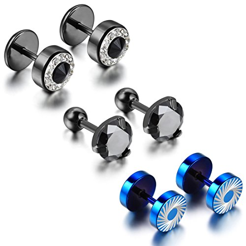 Cupimatch 6PCS Men's Stainless Steel Rhinestone Faux Illusion Stud Earrings Ear Plugs Tunnel Set (3 pairs)
