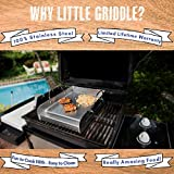 Kettle-Q Little Griddle KQ17R 100% Stainless Steel Round Griddle with Even Heating Cross Bracing for Charcoal/Gas Grills, Camping and Tailgating (17