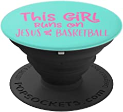 THIS GIRL RUNS ON JESUS AND BASKETBALL Aqua Teal Pink - PopSockets Grip and Stand for Phones and Tablets