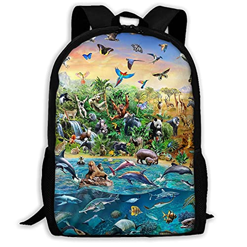 QQIAEJIA Mochila con estampado de mapa de vida marina, mochila para adolescentes y niñas, mochila liviana para viajes al aire libre de 17 pulgadas