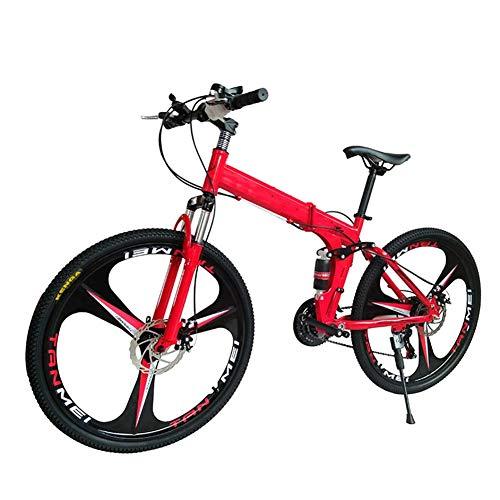 Mrzyzy Mountain Bike Unisex, Bicicleta de montaña Plegable, 26 Pulgadas, 27 velocidades, Velocidad Variable, Doble absorción de Impactos, Frenos de Doble Disco, Todoterreno Bicicleta (Color : 5)