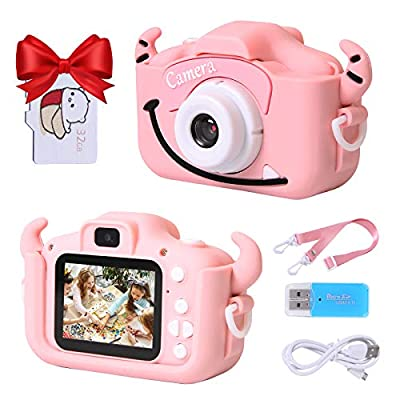 Playoos Kids Camera for Girls Boys,Kids Selfie Camera,Dual Lens 2.0 Inch Screen,Digital Camera Toys for Kids with 32GB Memory Card,Cute Pink Cow Case,Great Kids Birthday for Age 3-12