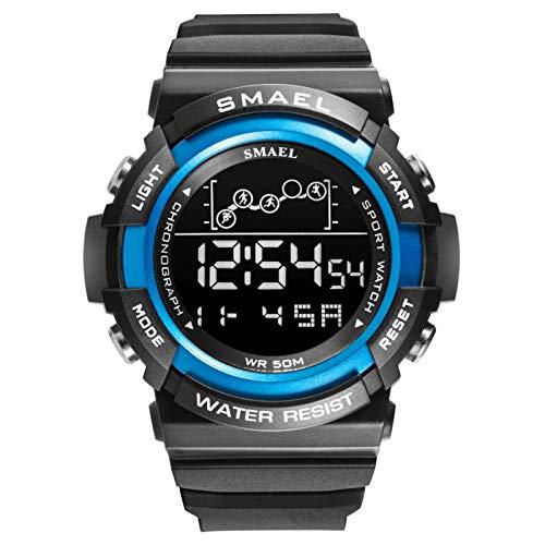 SMAEL Reloj Deportivo Reloj Digital Reloj Relojes De Pulsera para Hombre A Prueba De Agua Reloj Despertador LED Relojes del Ejército para Hombre,Black Blue
